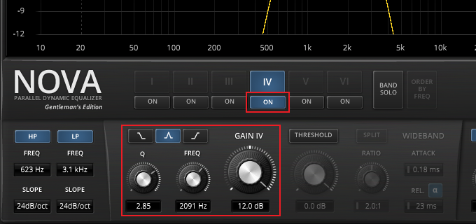 EQ band settings