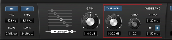 Wide-band compressor settings