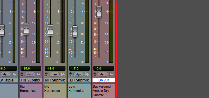 Background vocals dry submix