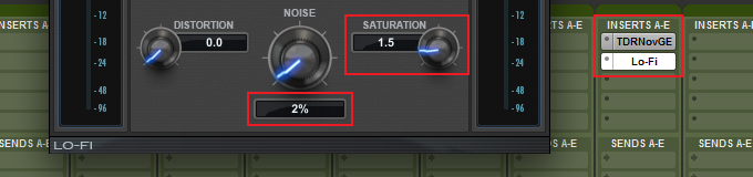 Saturation and noise settings